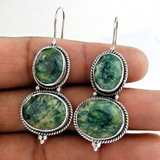 Beautiful!! 925 Sterling Silver Emerald Earrings Supplier India