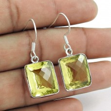 Big Natural !! 925 Sterling Silver Lemon Quartz Earrings Manufacturer India