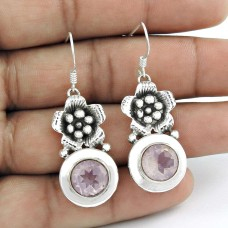Delicate Light!! 925 Sterling Silver Rose Quartz Earrings Wholesale Price