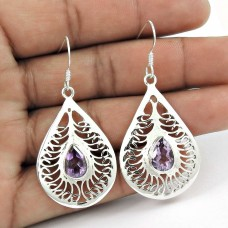 925 Silver Jewellery Traditional Amethyst Gemstone Earrings