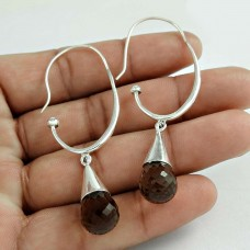 925 Sterling Silver Fashion Jewellery Charming Smoky Quartz Gemstone Earrings Wholesaler