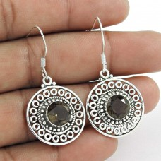 Great Creation!! 925 Sterling Silver Smoky Quartz Earrings Wholesaler India