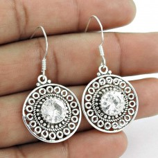 Passionate Love!! 925 Sterling Silver White C.Z Earrings Supplier India