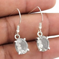 Lustrous !! White CZ Gemstone Sterling Silver Earrings Jewellery De gros