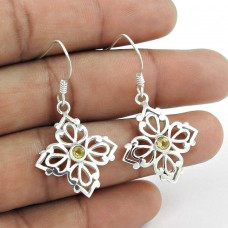 925 Sterling Silver Vintage Jewellery Ethnic Citrine Gemstone Fashion Earrings