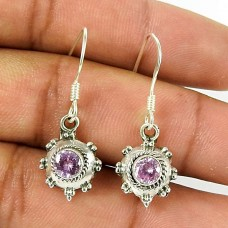 Amusable CZ Pink Gemstone 925 Sterling Silver Earrings Jewellery