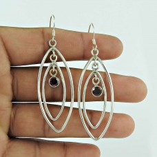 925 Sterling Silver Jewellery Charming Garnet Gemstone Drop Earrings