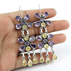 925 Sterling Silver Jewellery Charming Amethyst, Citrine Gemstone Earrings