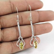 925 Sterling Silver Jewellery Ethnic Citrine Gemstone Fashion Earrings