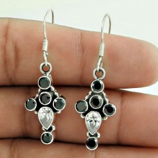 Sterling Silver Fashion Jewellery Charming Black Onyx, Crystal Gemstone Earrings