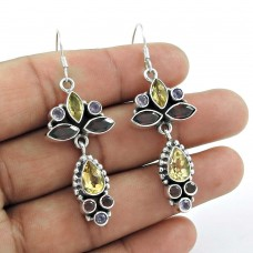 Sterling Silver Jewellery Beautiful Garnet, Citrine, Amethyst Gemstone Earrings