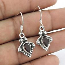 925 Sterling Silver Fashion Jewellery Trendy Garnet Gemstone Earrings Supplier