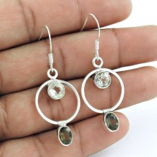 925 Sterling Silver Vintage Jewellery Fashion Smoky Quartz, Crystal Gemstone Earrings