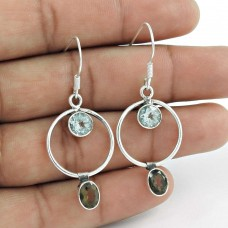 925 Sterling Silver Antique Jewellery Designer Smoky Quartz, Blue Topaz Gemstone Earrings