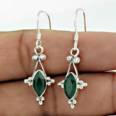 925 Sterling Silver Jewellery Fashion Green Onyx Gemstone Drop Earrings