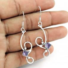 925 Sterling Silver Vintage Jewellery Ethnic Amethyst Gemstone Earrings