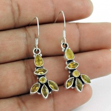 925 Sterling Silver Indian Jewellery Traditional Citrine Gemstone Fashion Earrings