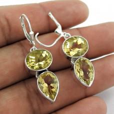 925 Sterling Silver Jewellery Charming Citrine Gemstone Drop Earrings