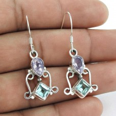 Indian Sterling Silver Jewellery Fashion Blue Topaz, Amethyst Gemstone Earrings