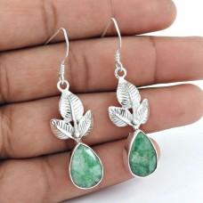 925 Sterling Silver Jewellery Fashion Emerald Gemstone Leaf Earrings