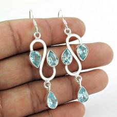 925 Sterling Silver Jewellery Fashion Blue Topaz Gemstone Earring