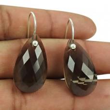 Graceful 925 Sterling Silver Smoky Quartz Gemstone Earrings Fashion Jewellery