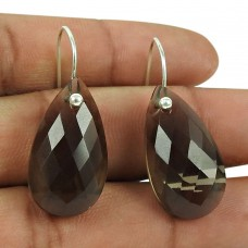 Stunning 925 Sterling Silver Smoky Quartz Gemstone Earrings Handmade Jewellery