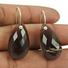 Stunning 925 Sterling Silver Smoky Quartz Gemstone Earrings Handmade Jewellery