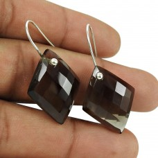 Stylish 925 Sterling Silver Smoky Quartz Gemstone Earrings Ethnic Jewellery