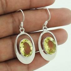 925 Sterling Silver Fashion Jewellery Ethnic Lemon Topaz Gemstone Earrings