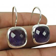 Handy 925 Sterling Silver Amethyst Gemstone Earrings