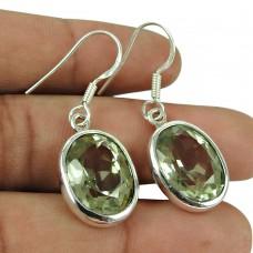 Seemly 925 Sterling Silver Green Amethyst Gemstone Earrings