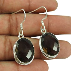 Charming 925 Sterling Silver Smoky Quartz Gemstone Earrings