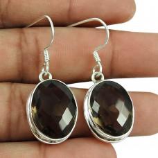 Rattling 925 Sterling Silver Smoky Quartz Gemstone Earrings Jewellery