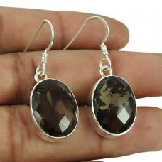 925 Silver Jewellery Charming Smoky Quartz Gemstone Earrings