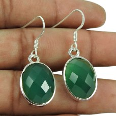 Charming 925 Sterling Silver Green Onyx Gemstone Earrings
