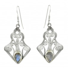 Afternoon Sun! 925 Sterling Silver Rainbow Moonstone Earrings Fournisseur