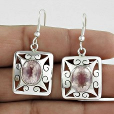 Big Inspire! 925 Sterling Silver Rose Quartz Earrings Wholesale