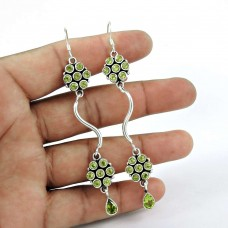 Billowing Clouds! 925 Sterling Silver Peridot Earrings Fabricante