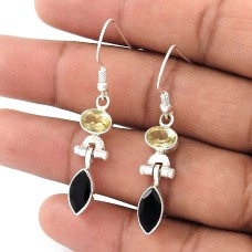 Great! Sterling Silver Black Onyx, Citrine Earrings Exporter India