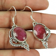 Lovely 925 Sterling Silver Ruby Gemstone Earrings