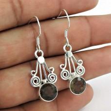 Classy Natural! 925 Sterling Silver Smoky Quartz Earrings De gros