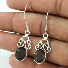 Crimson Kiss! 925 Sterling Silver Smoky Quartz Earrings Großhandel