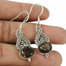 Perfect 925 Sterling Silver Smoky Quartz Gemstone Earrings