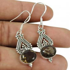 Seemly 925 Sterling Silver Smoky Quartz Gemstone Earrings