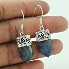 Daily Wear 925 Sterling Silver Lapis Gemstone Pencil Earring Jewellery