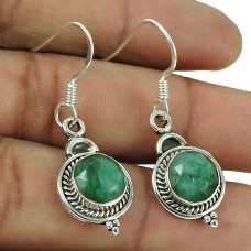 Classic 925 Sterling Silver Emerald Gemstone Earrings