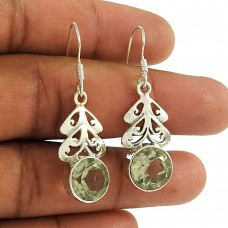Lovely Green Amethyst Gemstone Indian Sterling Silver Dangle Earrings Jewellery