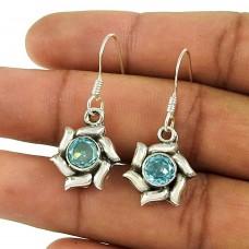 Indian Sterling Silver Jewellery Fashion Blue Topaz Gemstone Earrings