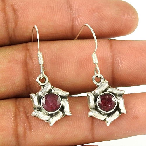 925 Sterling Silver Vintage Jewellery Beautiful Ruby Handmade Earrings Großhandel